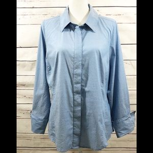 {LANE BRYANT} - BABY BLUE BUTTON-UP BLOUSE